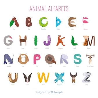 Collection d'alphabet animal en guise d'introduction à l'école