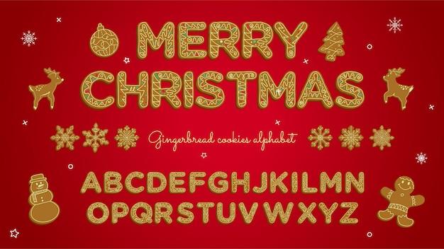 Collection d'alphabet de biscuits de noël de pain d'épice