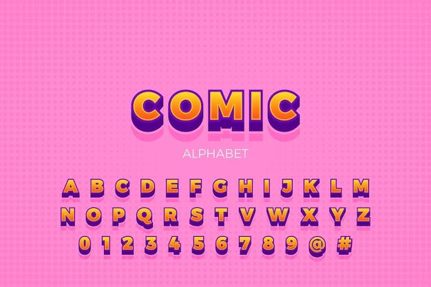Collection d'alphabet dans le concept de bande dessinée 3d