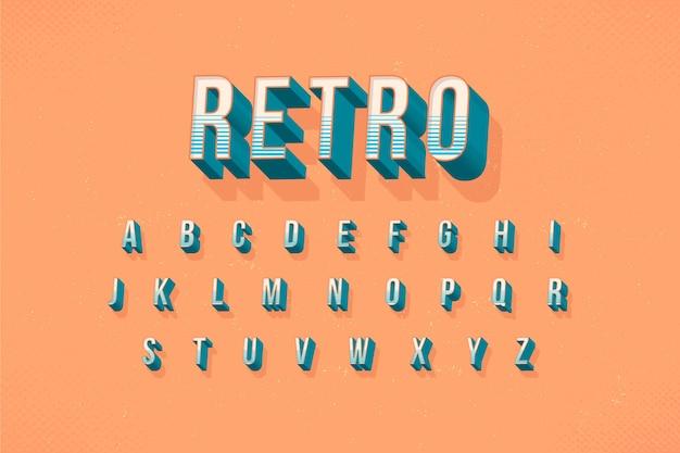 Collection d'alphabet dans le concept rétro 3d