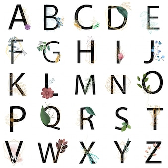 Collection d'alphabet floral