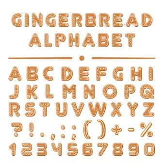 Collection d'alphabet de polices de biscuits de pain d'épice de dessin animé de noël