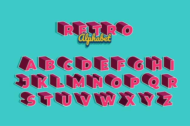 Collection d'alphabet rétro 3d