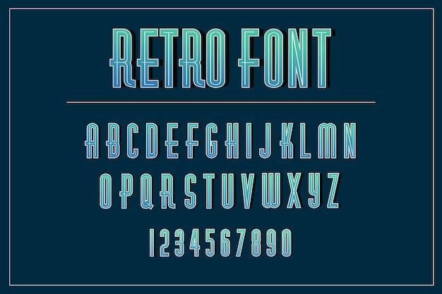 Collection alphabet de a à z dans un style rétro 3d