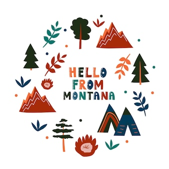 Collection américaine. bonjour du thème du montana. carte de forme ronde de symboles d'état