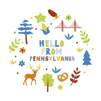 Collection américaine. bonjour du thème de pennsylvanie. carte de forme ronde de symboles d'état