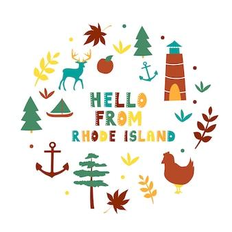 Collection américaine. bonjour du thème de rhode island. carte de forme ronde de symboles d'état