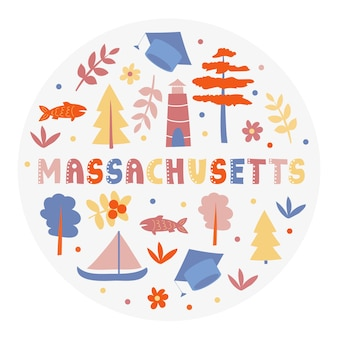 Collection américaine. illustration vectorielle du thème du massachusetts. symboles d'état - forme ronde