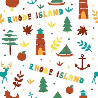 Collection américaine. illustration vectorielle du thème du rhode island. symboles d'état - modèle sans couture