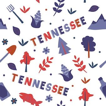 Collection américaine. illustration vectorielle du thème du tennessee. symboles d'état - modèle sans couture