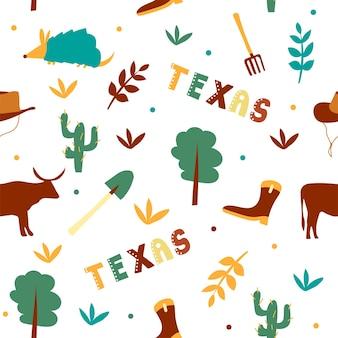 Collection américaine. illustration vectorielle du thème du texas. symboles d'état - modèle sans couture