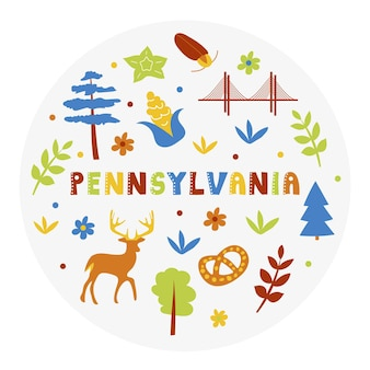 Collection américaine. illustration vectorielle du thème de la pennsylvanie. symboles d'état - forme ronde