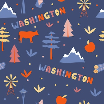 Collection américaine. illustration vectorielle du thème de washington. symboles d'état - modèle sans couture