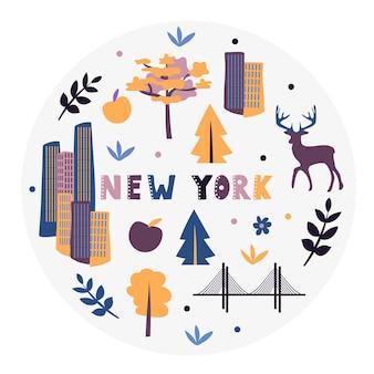 Collection américaine. illustration vectorielle de new york. symboles d'état - forme ronde