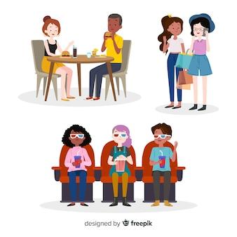 Collection d'amis passer du temps ensemble