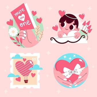 Collection d'amour mignon dessiné à la main