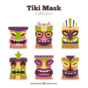 Collection amusante de masques hawaiens heureux