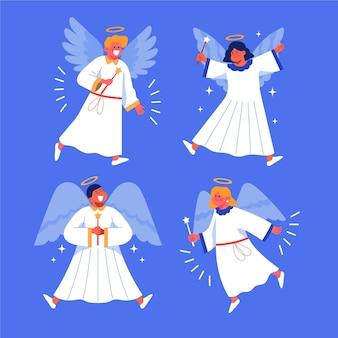 Collection d'ange de noël plat