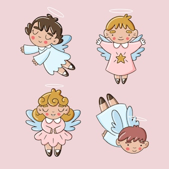 Collection d'anges d'enfants de noël dessinés à la main