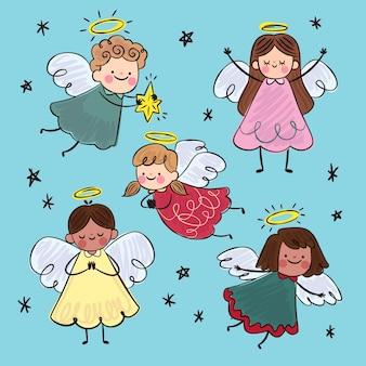 Collection d'anges de noël design plat