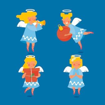 Collection d'anges de noël dessinés à la main