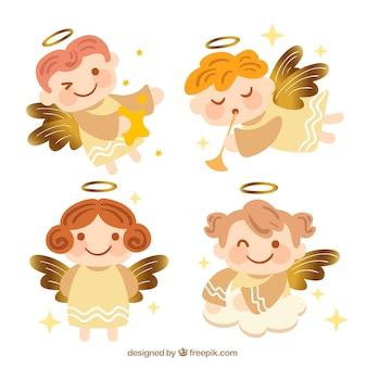 Collection d'anges de noël d'or