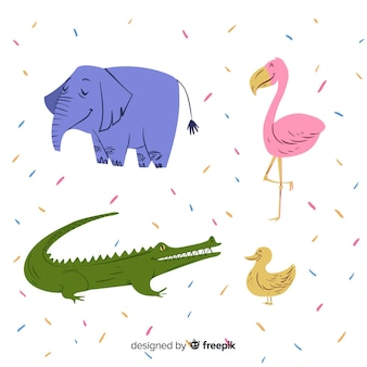 Collection animale dans le style des enfants
