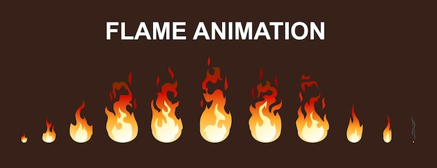 Collection d'animation de flammes de feu léger