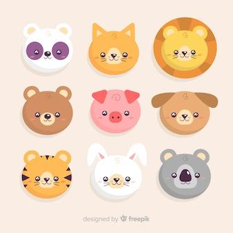 Collection d'animaux adorables dessinés à la main