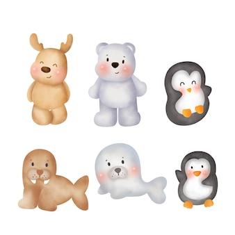 Collection d'animaux arctiques dessinés à la main.