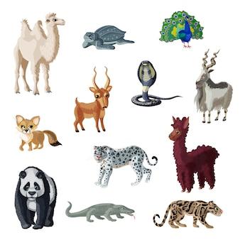 Collection d'animaux asiatiques colorés de dessin animé