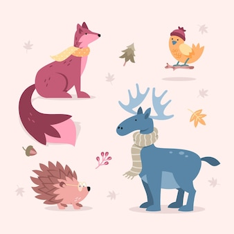 Collection d'animaux automne design plat
