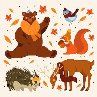 Collection d'animaux d'automne plat