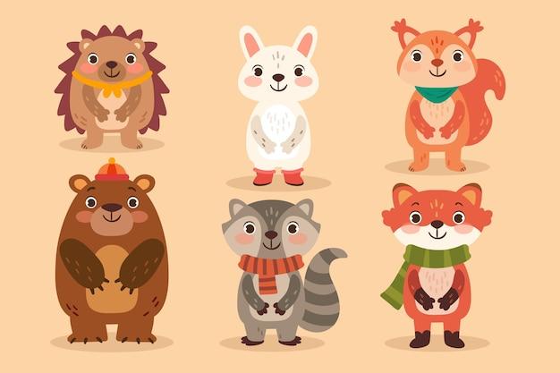 Collection d'animaux d'automne