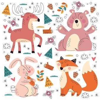 Collection d'animaux de compagnie doodle dessinés à la main