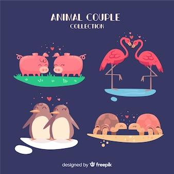 Collection d'animaux de couple valentine