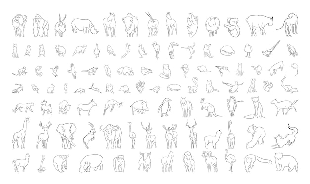 Collection d'animaux dans un style linéaire