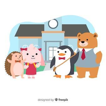Collection d'animaux de dessin animé de bach à l'école