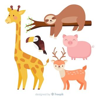 Collection d'animaux de dessin animé mignon