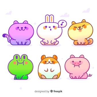 Collection d'animaux de dessin animé mignon