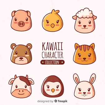 Collection d'animaux dessinés à la main des animaux kawaii