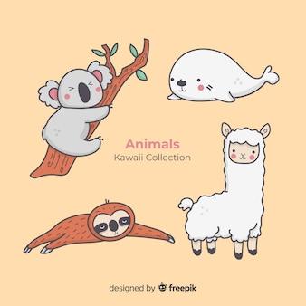 Collection d'animaux dessinés à la main kawaii