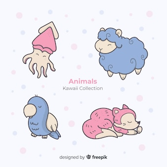 Collection d'animaux dessinés à la main kawaii