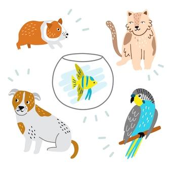 Collection d'animaux différents