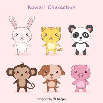 Collection d'animaux drôles dessinés à la main