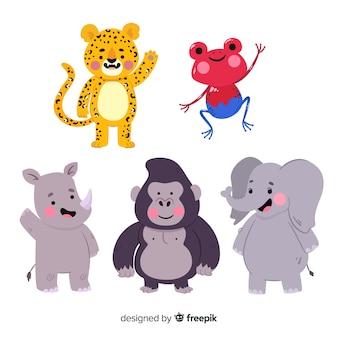 Collection d'animaux exotiques dessinée à la main
