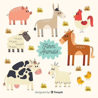 Collection d'animaux de ferme design plat