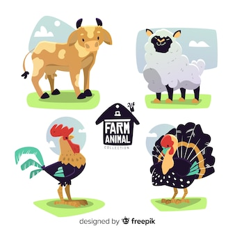 Collection d'animaux de ferme dessinés à la main