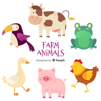 Collection d'animaux de ferme dessinés à la main