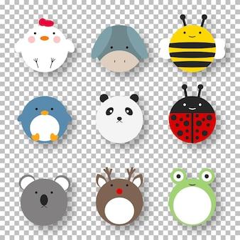 Collection d'animaux de ferme mignon de dessin animé. animaux modèle isolé illustration vectorielle. personnage comique. ensemble de bébé drôle.